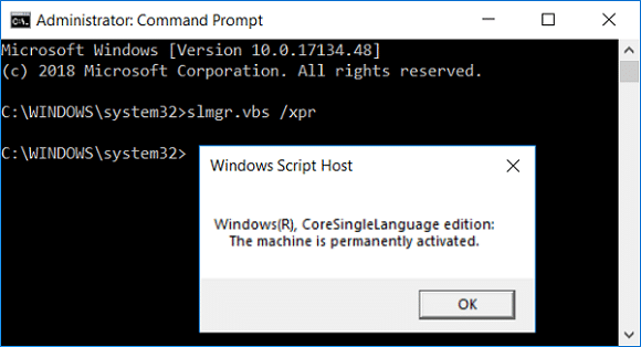 slmgr.vbs The machine is permanently activated | 3 Ways to Check if Windows 10 is Activated