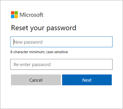type the new password then confirm this new password and click Next