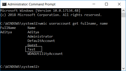 wmic useraccount get fullname, name command in cmd | 6 Ways to Change User Account Name in Windows 10