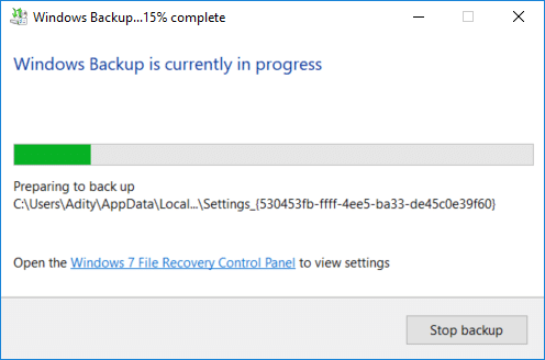 Backup will start and you can see what files are being backed up