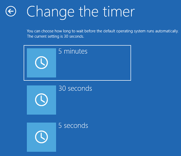 Change Time to Display List of Operating Systems at Startup in Windows 10