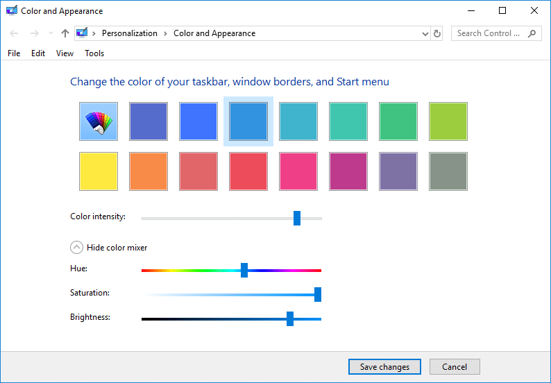 Change the Color and Appearance Settings then click Save changes