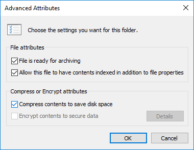 Checkmark Compress contents to save disk space and click OK