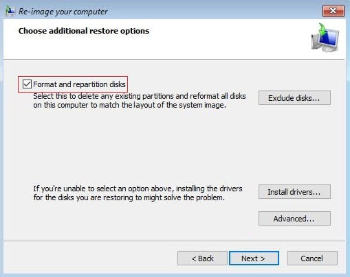 Checkmark Format and repartition disk click Next