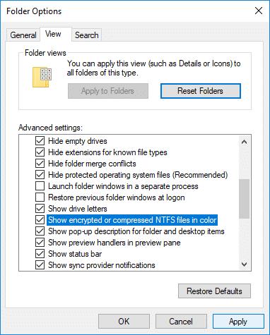 Checkmark Show encrypted or compressed NEFS files in color under Folder Options
