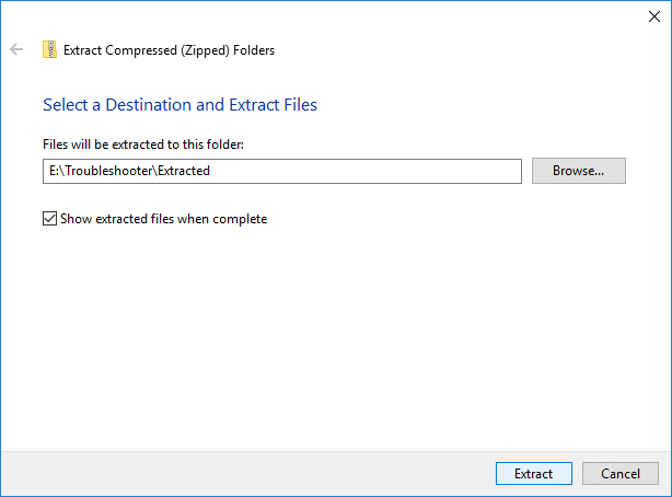 Checkmark Show extracted files when complete and click Extract