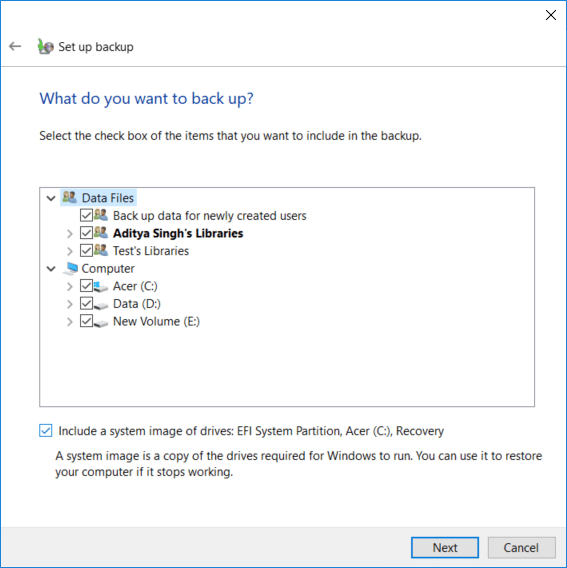 Checkmark every item on the What do you want to backup screen in order to create a full backup