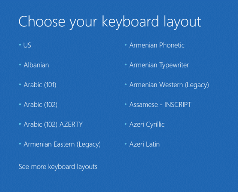 Choose your keyboard layout language and the Advanced Boot Options will automatically open up