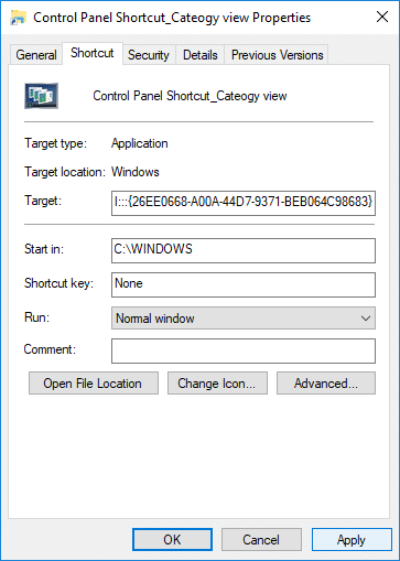 Click Apply followed by OK on Control Panel Shortcut Properites