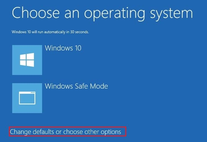 Click Change defaults or choose other options on boot menu