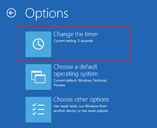 Click Change the timer under Options at boot menu