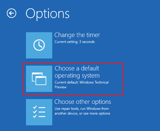 Click Choose a default operating system under boot options