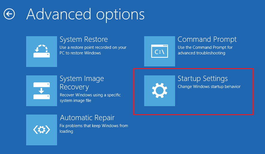 ClickStartup Settingsicon on the Advanced options screen