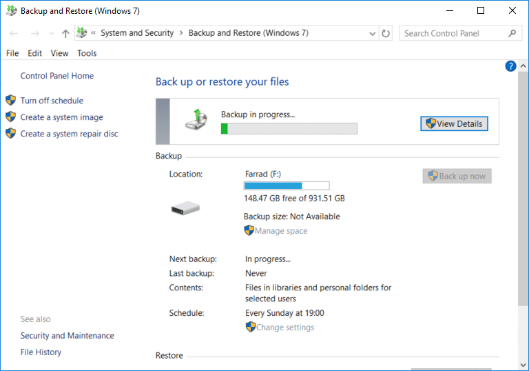 Click View detail button to see what files and folders are backed up by Windows 10