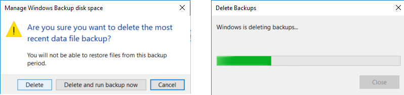 Click again on Delete to confirm the delete of the backup