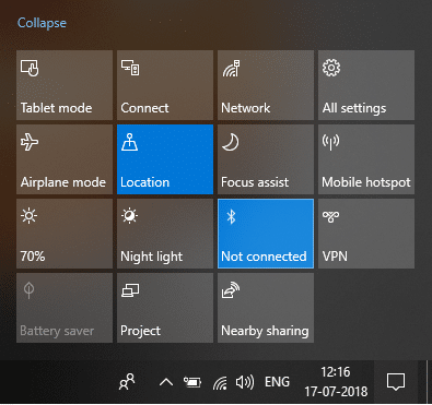 Click on Bluetooth quick action button to enable or disable Bluetooth in Windows 10