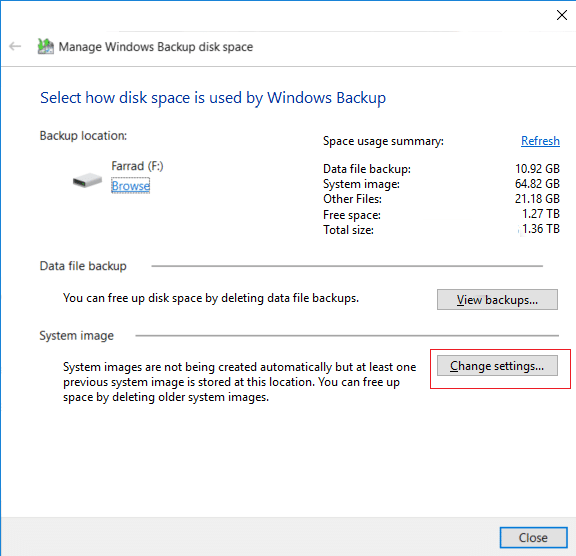 Click on Change settings button under System image