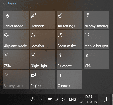 Click on Connect quick action button   Connect to a Wireless Display with Miracast in Windows 10