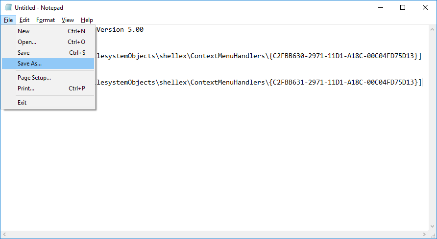 Click on File then select Save as & name this file as Add_CopyTo.reg file