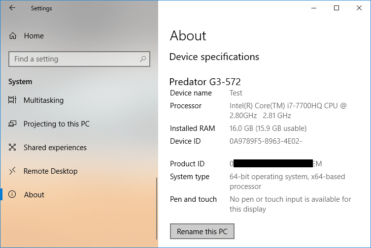 Click on Rename this PC under Device specifications
