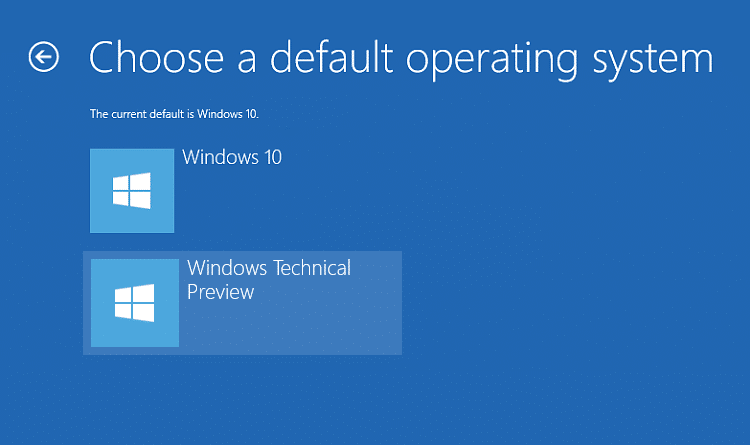 Click on the Operating System you want to set as default.