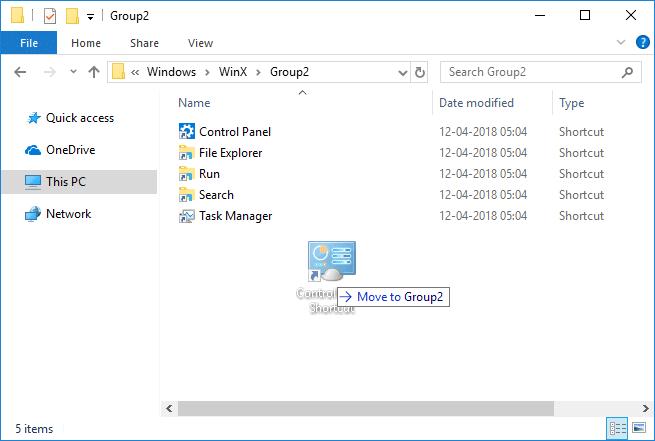 Copy the Control Panel shortcut then paste it inside Group folder you selected
