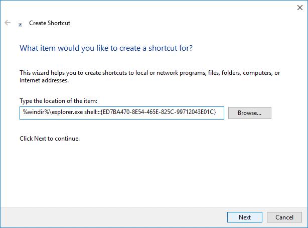Create Control Panel All Tasks Shortcut