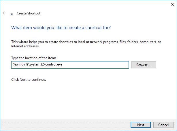 Create Control Panel Shortcut on Desktop