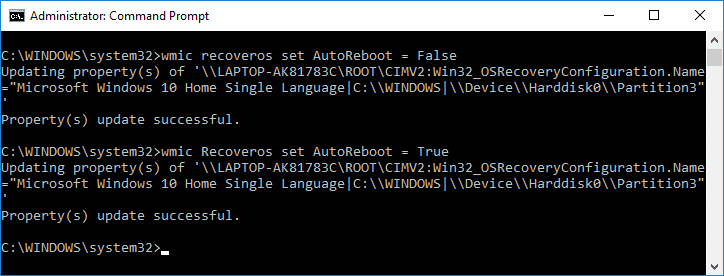 Enable or Disable Automatic Restart on System Failure in Command Prompt