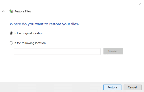 Either restore the files or folders to their original location or you could select an alternative location