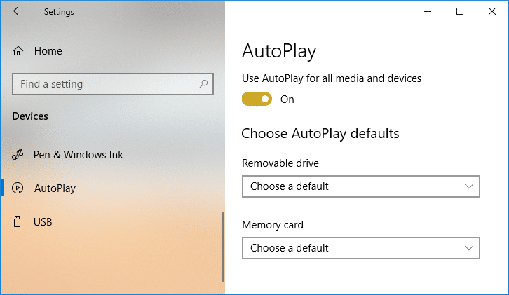 Enable or Disable AutoPlay in Windows 10