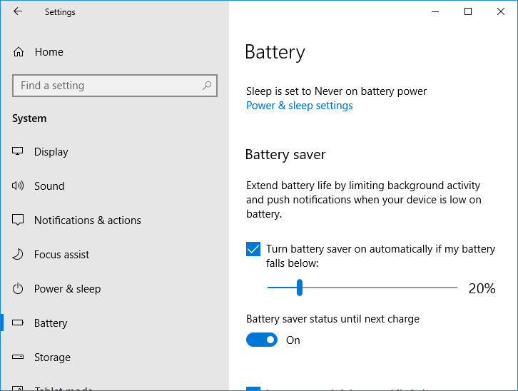 Enable or disable the toggle for Battery saver status until next charge