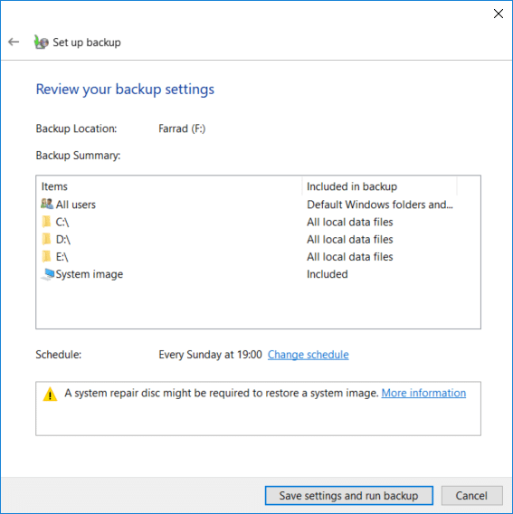 Finally, review all your settings then click Save settings and run the backup