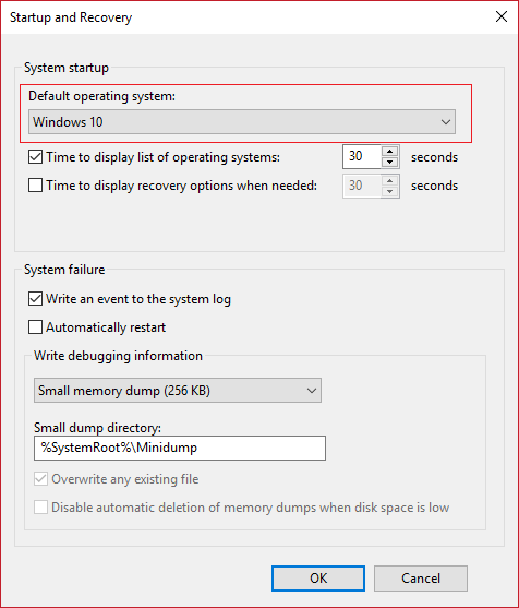 From Default Operating System Drop-down select Windows 10