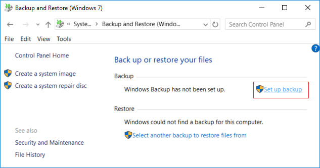 From backup and restore (Windows 7) window click on Set up backup