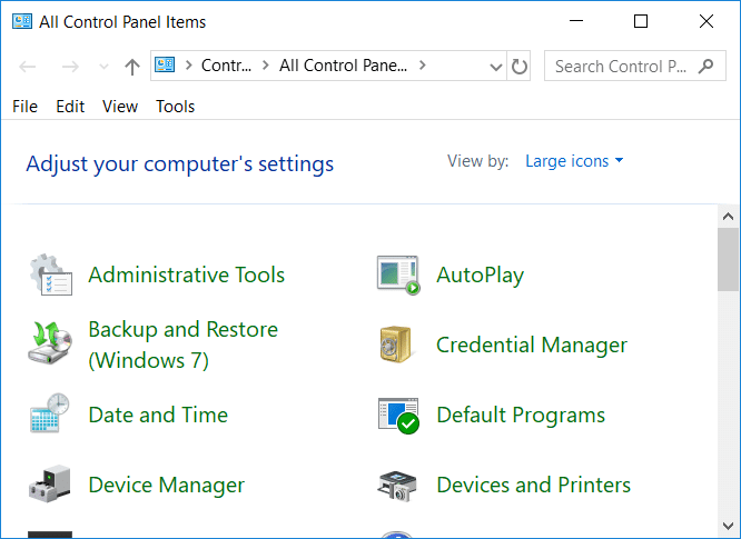 Hide Items from Control Panel in Windows 10