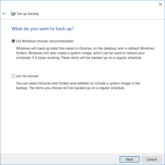 If you do not want to choose what to back up then select Let Windows choose