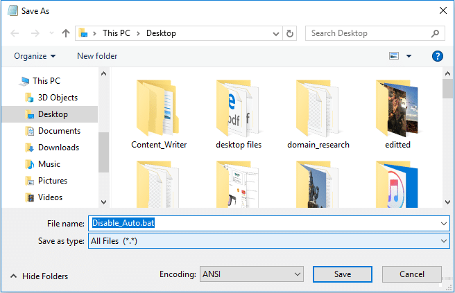 Name the file as Disable_Auto.bat in order Disable Auto Arrange in Folders
