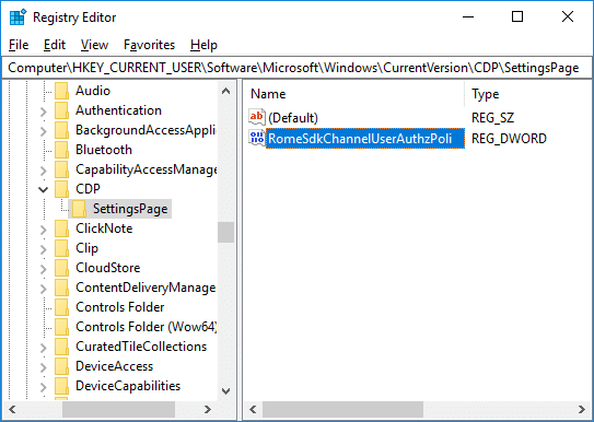 Navigate to the SettingsPage under CDP registry key