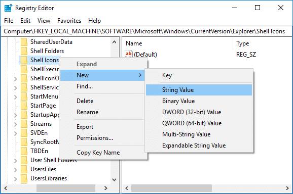 Now Right-click on Shell Icons folder and select New then String Value