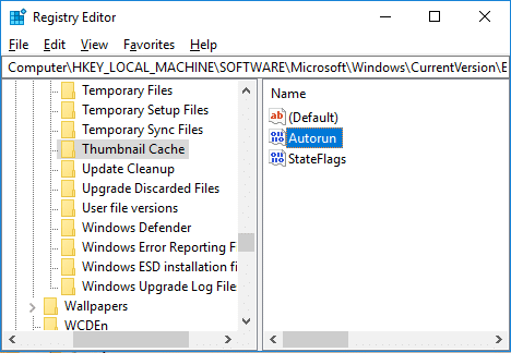 Now select Thumbnail Cache then in the right window double-click on Autorun