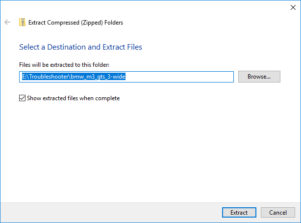 On the next screen it will ask you where you want to extract the zip file