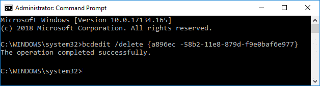 Remove Safe Mode from Boot Menu in Windows 10 bcdedit /delete {IDENTIFIER}