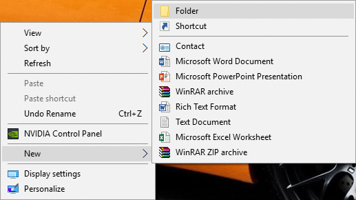 Right-click in an empty area on your Desktop then click on New and select Folder