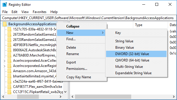 Right-click on BackgroundAccessApplications then select New then DWORD (32-bit) value