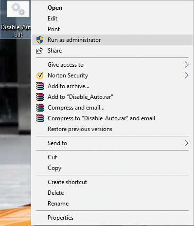 Right-click on Disable_Auto.bat file then select Run as administrator | Disable Auto Arrange in Folders in Windows 10