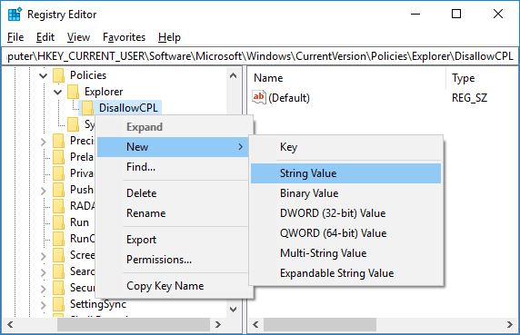 Right-click onDisallowCPL key then select New and String Value