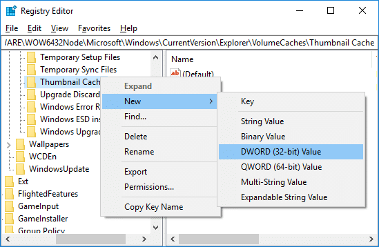 Right-click on Thumbnail Cache then select New and click on DWORD then name it Autorun