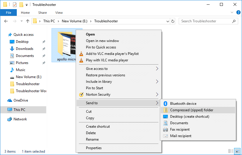 Right-click on any file or folder then select Send to & then select Compressed (zipped) folder