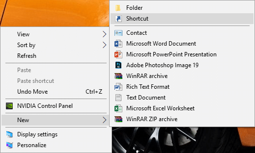 Right-click on the desktop & select New then Shortcut